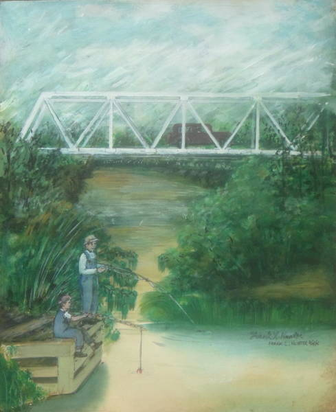 Painting - Fishing At The Pump House On White Oak Creek by Frank Hunter