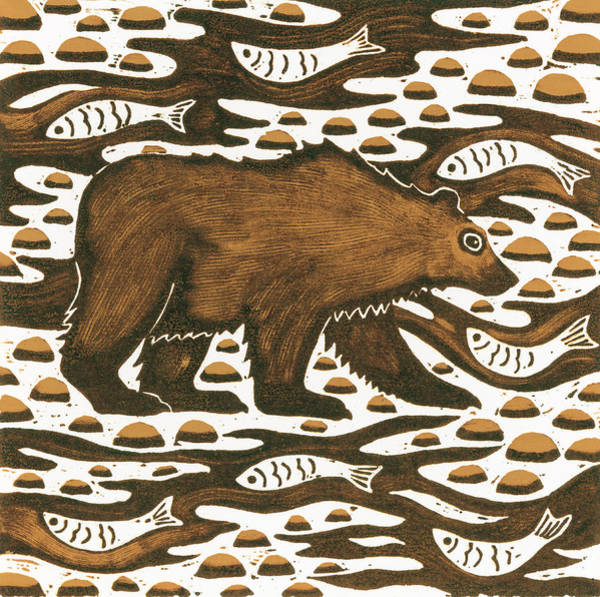 Catch Painting - Fishing Bear by Nat Morley