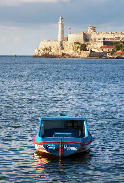 Wall Art - Photograph - Fishing Boat At Morro Castle Havana Cuba by Charles Harden