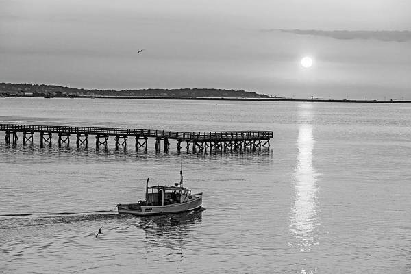 Photograph - Fishing Boat Going By The Fishing Pier At Sunrise Lynn Ma Black And White by Toby McGuire