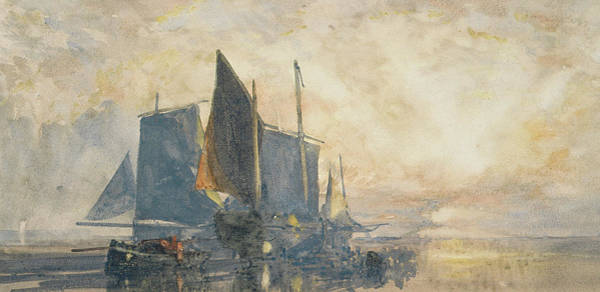 Beam Painting - Fishing Boats At Anchor   Sunset by William Roxby Beverly
