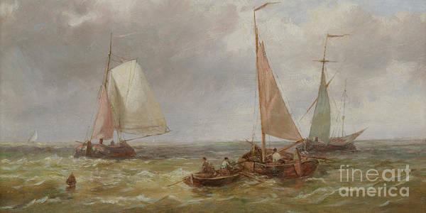 Set Sail Painting - Fishing Boats At Sea by Abraham Hulk