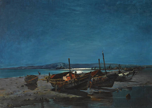 Painting - Fishing Boats By Moonlight by Vasilios Chatzis