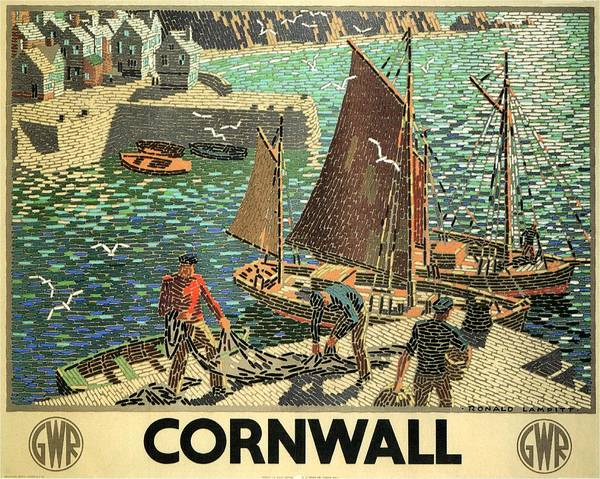 Kunst Painting - Fishing Boats Docked In A Harbor With Fishermen In Cornwall - Vintage Travel Poster by Studio Grafiikka