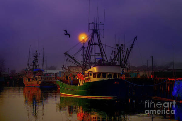 Evening Wall Art - Photograph - Fishing Boats In A Foggy Night by Viktor Birkus