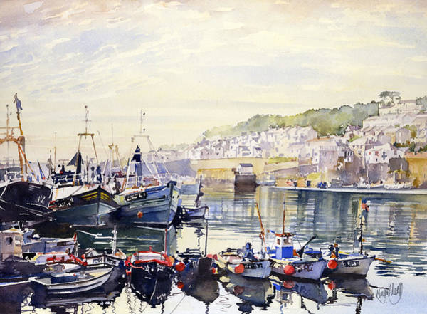 Newlyn Painting - Fishing Boats In Newlyn Harbour by Margaret Merry