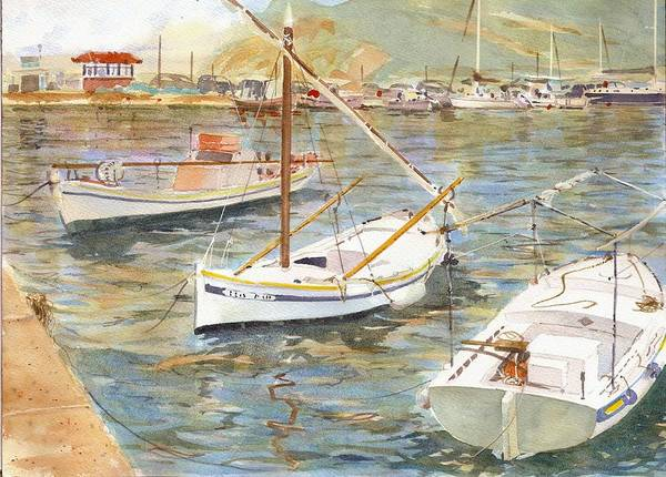 Painting - Fishing Boats In Skopelos by David Gilmore