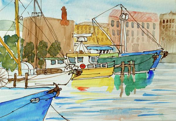 Fishing Boats In Hobart's Victoria Dock Art Print