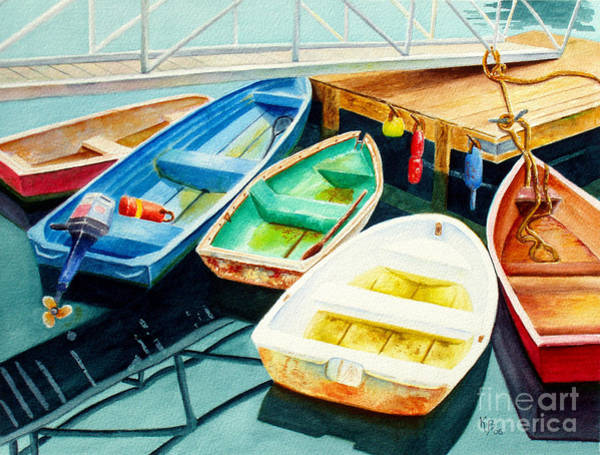Fishing Boat Painting - Fishing Boats by Karen Fleschler