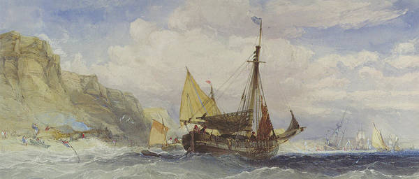 Wall Art - Painting - Fishing Boats Off The Isle Of Wight by Charles Bentley