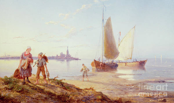 Set Sail Painting - Fishing Boats Off The Shore by Pieter Cornelis Dommerson