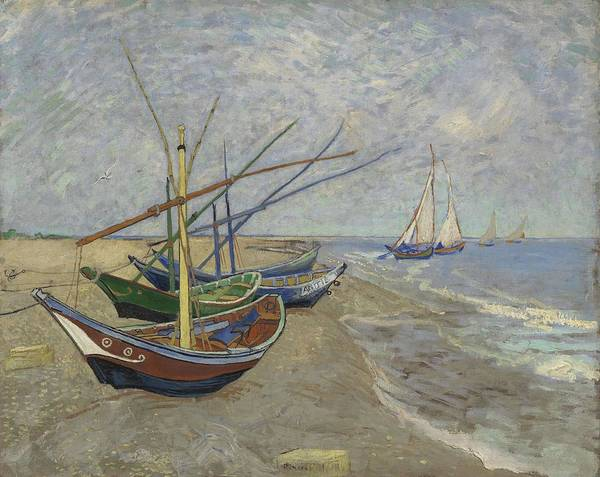 Painting - Fishing Boats On The Beach At Les Saintes Maries,de La Mer Arles June 1888 Vincent Van Gogh 1853  by Artistic Panda