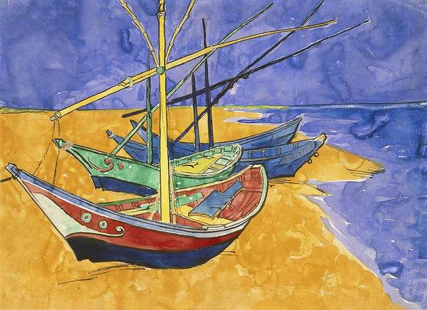 Painting - Fishing Boats On The Beach At Saintes Maries De La Mer by Artistic Panda