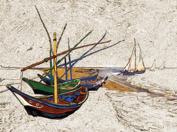 Digital Art - Fishing Boats Van Gogh Digital Art by Karla Beatty