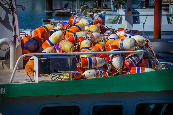 Dry Dock Photograph - Fishing Bouys On Boat Deck by Garry Gay