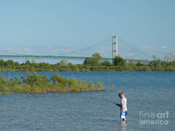 Photograph - Fishing By The Macinac by Donald C Morgan