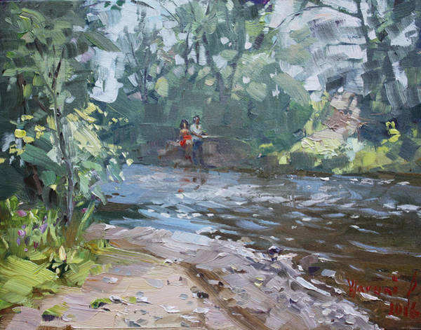Wall Art - Painting - Fishing Day With Viola by Ylli Haruni