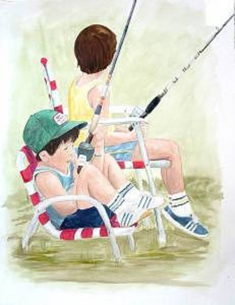 Painting - Fishing by Diane Ziemski