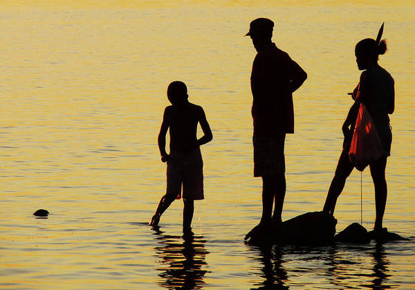 Photograph - Fishing Family At Sunset by Jonny Jelinek
