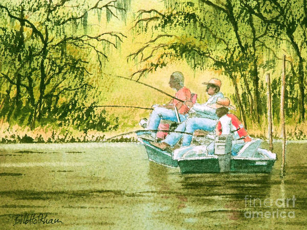 Alabama Painting - Fishing For Mullet by Bill Holkham