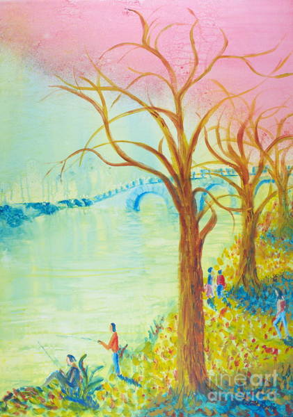 Painting - Fishing In The Park by Walt Brodis