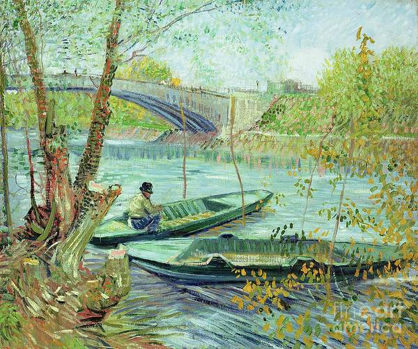 Punt Painting - Fishing In The Spring by Vincent Van Gogh