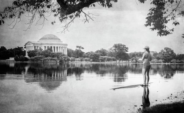 Wall Art - Photograph - Fishing In Washington Dc Bw by Joan Carroll