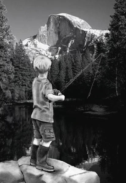 Wall Art - Mixed Media - Fishing In Yosemite by Joyce Geleynse