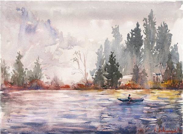 Lake Painting - Fishing by Kristina Vardazaryan
