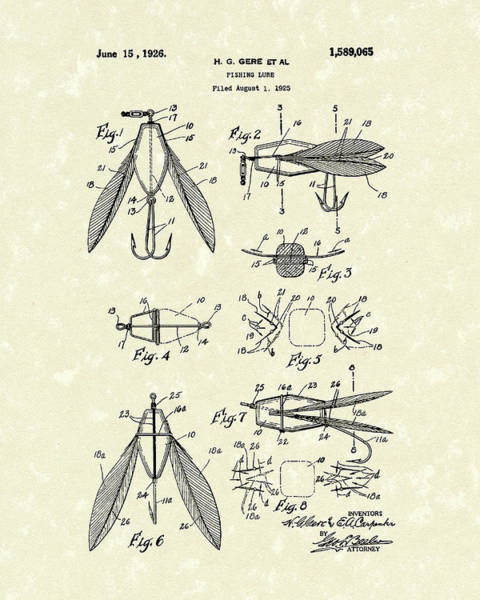 Drawing - Fishing Lure 1926 Patent Art  by Prior Art Design