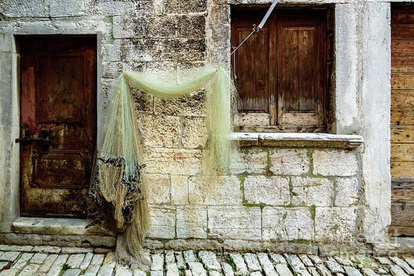 Fishing Net Hanging In The Streets Of Rovinj, Croatia Art Print