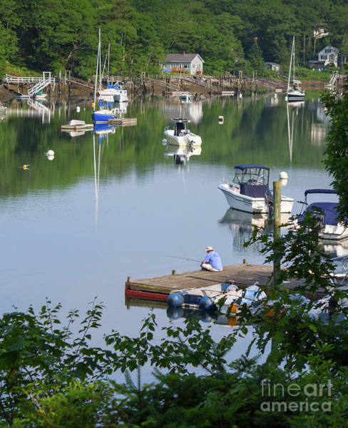 Photograph - Fishing Off The Dock On A Quiet Morning, Boothbay, Maine #40029 by John Bald