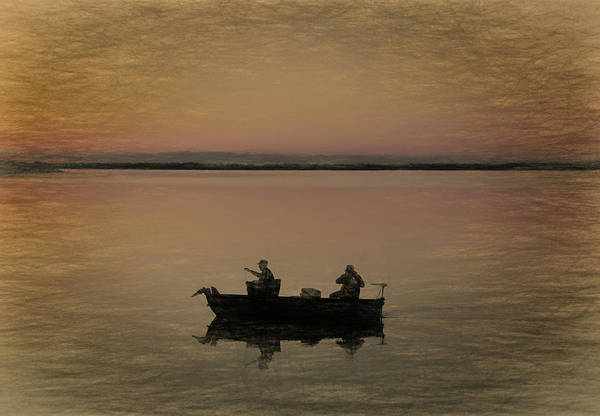 Silence Mixed Media - Fishing On The Boat by Dan Sproul
