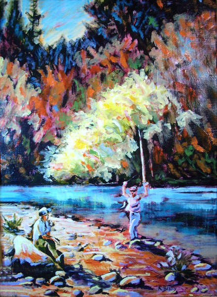 Fishing Painting Catch Of The Day Art Print