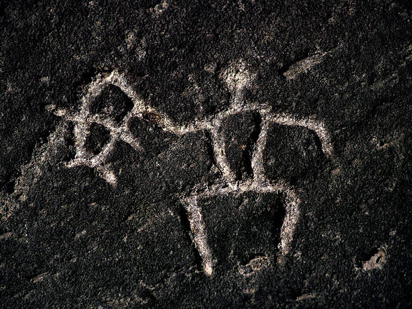 Carving Photograph - Fishing Petroglyph by Christopher Johnson