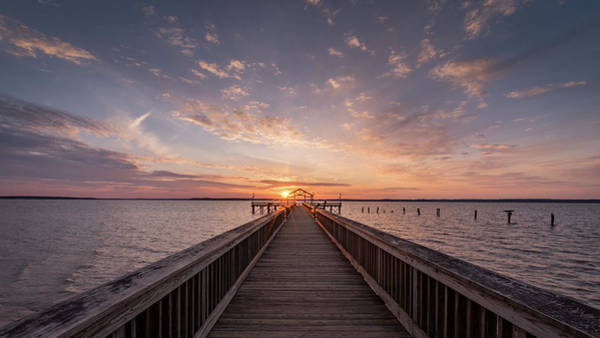 Fishing Pier Sunrise Art Print by Michael Donahue