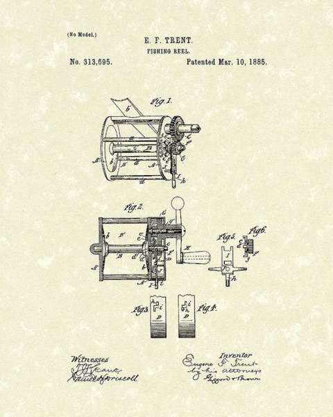 Drawing - Fishing Reel 1885 Patent Art by Prior Art Design