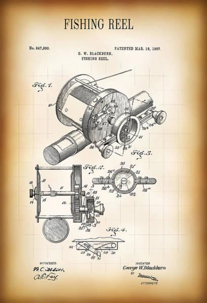 Fishing Pole Digital Art - Fishing Reel Patent  1907 by Daniel Hagerman