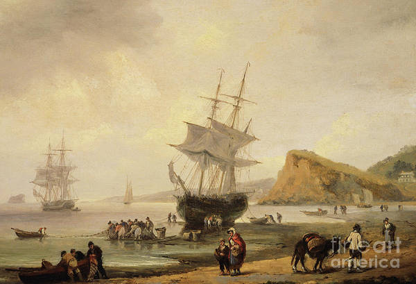 Devon Painting - Fishing Scene, Teignmouth Beach And The Ness, 1831 by Thomas Luny