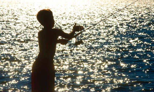 Photograph - Fishing Silhouette Youngster by Steve Somerville