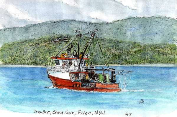 New South Wales Drawing - Fishing Trawler by Anne huth