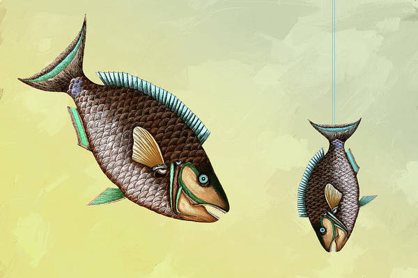 Mixed Media - Fishing Trip Minimal Wall Art by Isabella Howard