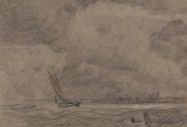 Fishing Drawing - Fishing Vessel Off Yarmouth by John Sell Cotman