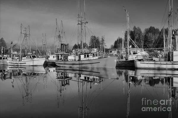 Port Of Vancouver Wall Art - Photograph - Fishing Vessels - Black And White by Adam Jewell