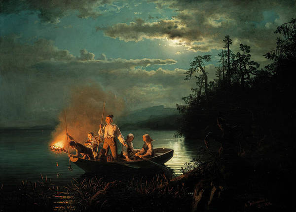 Norwegian Painting - Fishing With A Harpoon by Hans Gude