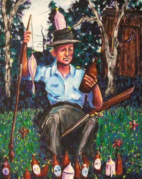Leclair Painting - Fishing With Whisky by Suzanne  Marie Leclair