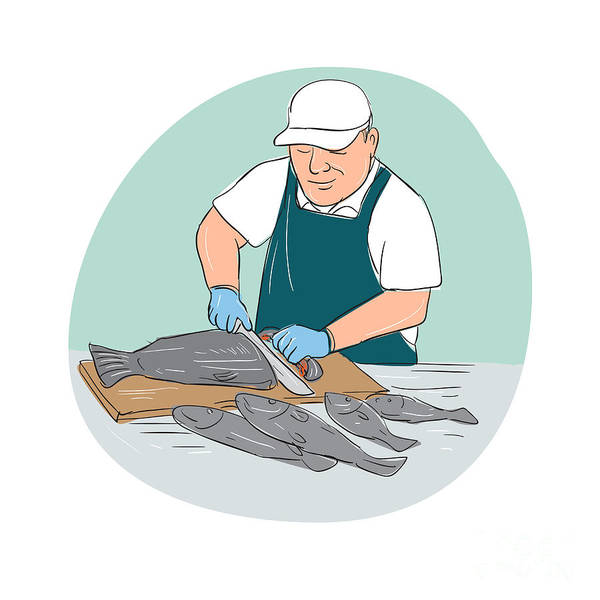 Wall Art - Digital Art - Fishmonger Cutting Fish Cartoon by Aloysius Patrimonio