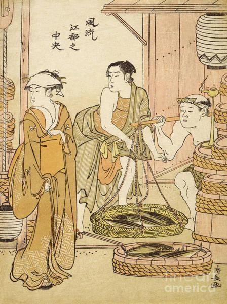 Wall Art - Painting - Fishmonger by Torii Kiyonaga