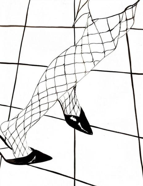 Checker Drawing - Fishnets Dancing by Edith Ritter