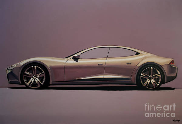 Car Show Painting - Fisker Karma 2012 Painting by Paul Meijering
